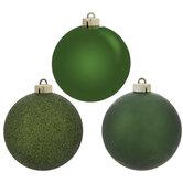 Pine Green Shiny, Matte & Glitter Ball Ornaments