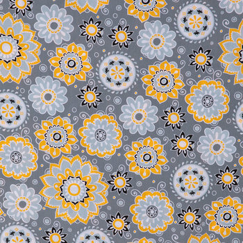 Gray, Black & Yellow Suzani Floral Apparel Fabric