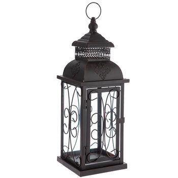 Brown & Black Metal Lantern With Glass