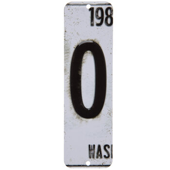 License Plate Number Metal Sign - 0