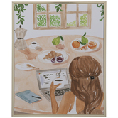 Office Breakfast Watercolor Wood Wall Decor