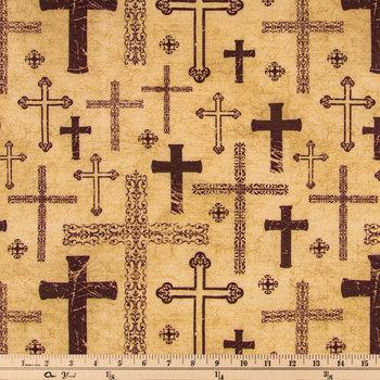 Brown Crosses Cotton Calico Fabric