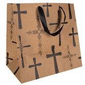 Kraft & Black Crosses Gift Bag