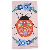 Floral Ladybug Kitchen Towel