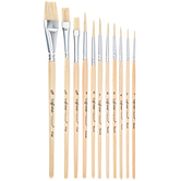 Hog Bristle Paint Brushes - 12 Piece Set