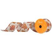 """Glitter Leaf Wired Edge Ribbon - 2 1/2"""""""