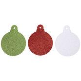 Red, Iridescent White & Green Glitter Ornaments