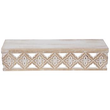Beige & White Floral Cutout Wood Wall Shelf