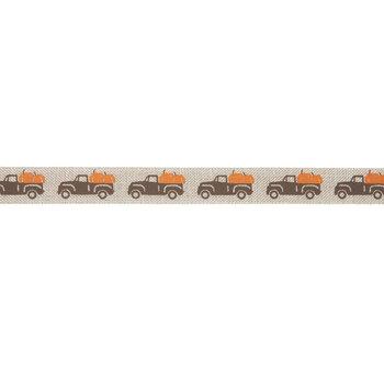 "Brown Truck With Pumpkin Ribbon - 5/8"""