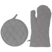 Gray Chambray Pot Holder & Oven Mitt