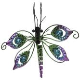 Green & Purple Dragonfly Metal Pot Percher
