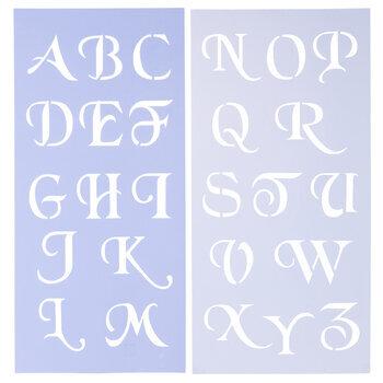 Uppercase Simple Script Alphabet Stencils