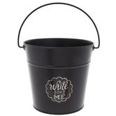 Black Chalkboard Metal Bucket - Medium
