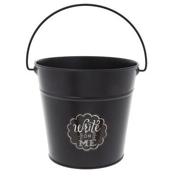 Black Chalkboard Metal Bucket