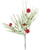 Glitter Pine With Ball Ornaments Pick