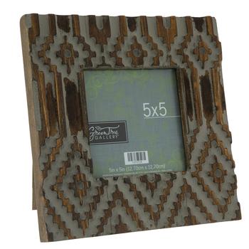 "Distressed Geometric Wood Frame - 5"" x 5"""