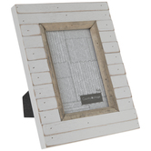 "White Distressed Shiplap Wood Frame - 4"" x 6"""