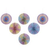 Pastel Tie-Dye Paper Fans