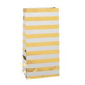 White & Gold Foil Striped Gift Sacks