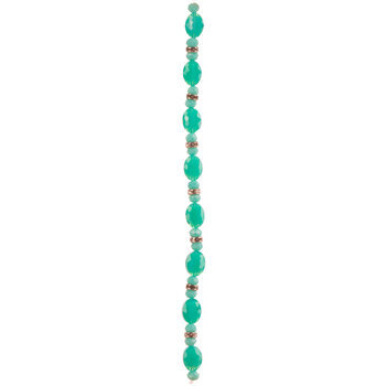 Turquoise Oval Glass Bead Strand