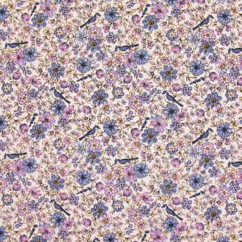 Blue Bird Floral Cotton Calico Fabric