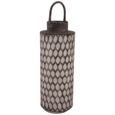 Gray Ridged Metal Vase