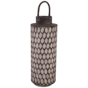 Gray Ridged Metal Vase