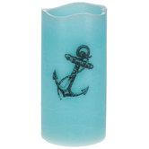 Blue Anchor LED Pillar Candle