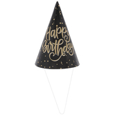 Black & Gold Glitter Happy Birthday Party Hats