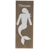 Mermaids Bathroom Sign Wood Wall Decor