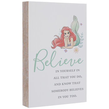 The Little Mermaid Believe Wood Decor
