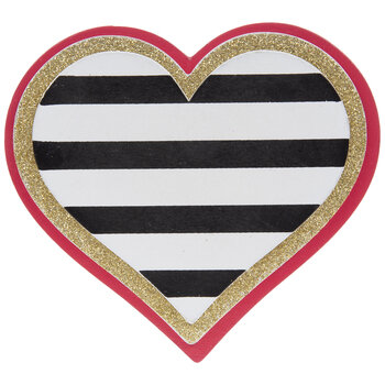 Striped Heart Painted Wood Shape