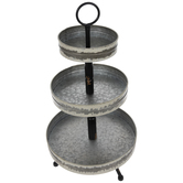 Distressed Metal Three-Tiered Tray