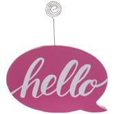 Pink & White Hello Wood Photo Clip