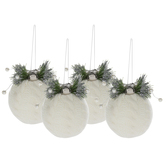 White Cable Knit & Pine Ball Ornaments