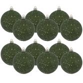 Pine Green Glitter Ball Ornaments