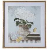White Hydrangeas & Fruit Framed Wall Decor