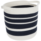 White & Navy Striped Basket