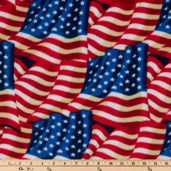 American Flags Fleece Fabric