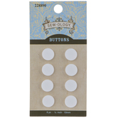 White Matte Concave Round Buttons - 10mm