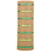 "Natural Burlap & Green Striped Metallic Deco Mesh - 10"""