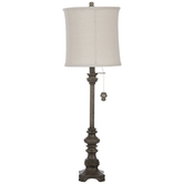 Brushed Gray Carved Lamp