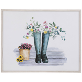 Flowers In Boots Wood Wall Decor