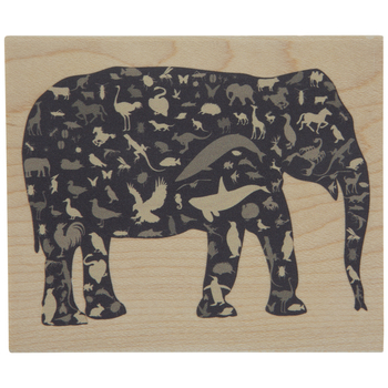 Mosaic Elephant Rubber Stamp