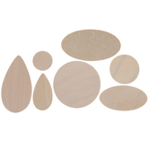 Teardrop, Oval & Circle Wood Shapes