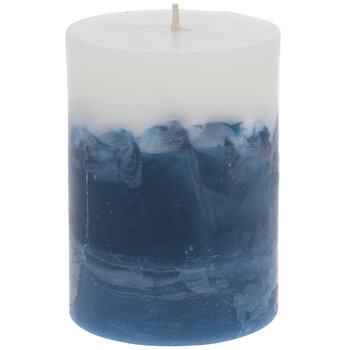 White, Navy & Blue Layered Pillar Candle