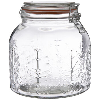 Lacy Embossed Glass Mason Jar