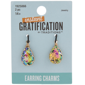 Iridescent Teardrop Glass Earring Charms