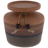 Brown Striped Pedestal Candle Holder
