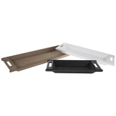 Black, White & Brown Wood Trays Set